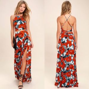 Lulus Back to Your Roots Floral 2 Piece Maxi Dress